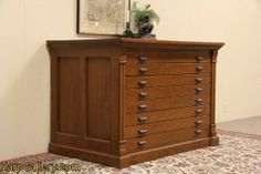 SOLD - Hamilton 1880 Pine Map Chest, Print Drawing File - Harp Gallery Antique Furniture