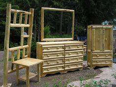 Handmade Log furniture.... I want this!