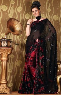 Black and Red Net Saree With Blouse