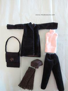 Blue velvet coat for Barbie Tutorial