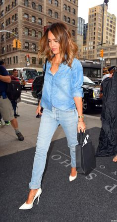 Denim on denim topped off with a perfect white pair of pumps