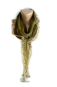 scarf ,women cotton scarves, fashion scarves, green, Turkish oya scarf hand crocheted lace scarf /headband / gift for her. $12.75, via Etsy.