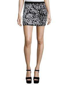 Embellished Cheetah Mini Skirt, Women's, Size: Large, Black/White - Haute Hippie