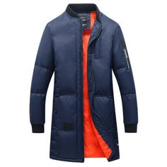 54.56$  Buy now - http://dikdo.justgood.pw/go.php?t=198127505 - Rib Splicing Stand Collar Zip-Up Lengthen Cotton-Padded Coat