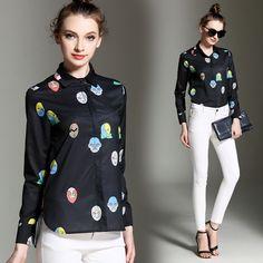 Fashion Womens Autumn Winter Polo Collar Long Sleeve Career Printed Tops Blouses