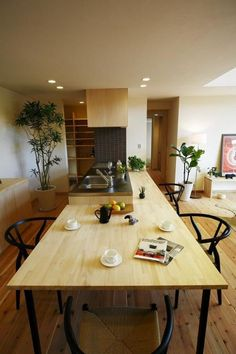 注目のキッチン×ダイニングテーブル一体型のインテリア参考例☆ | folk