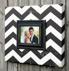 Black and White Chevron Picture Frame Canvas,  Chevron Picture Frame, Vintage Distressed Frame, Holds 5x7 Photo on Etsy, $79.99