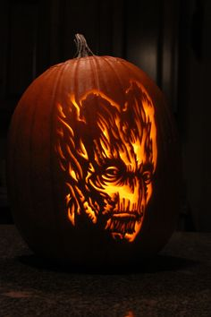"""""""I am Groot"""", pumpkin that I carved. Guardians of the Galaxy.My """"I am Groot"""", pumpkin that I carved. Guardians of the Galaxy. Evil Pumpkin, Unicorn Pumpkin, Black Pumpkin, Cat Pumpkin, Pumpkin Faces, Pumpkin Ideas, Scary Pumpkin Carving Patterns, Disney Pumpkin Carving, Pumkin Carving"""