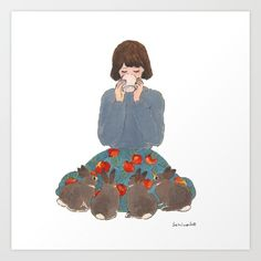Keep warm Art Print by SCHINAKO MORIYAMA | Society6