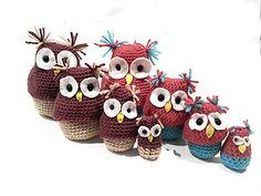 Crochet Nesting Owls,Amigurumi Matryoshka, Babushka Dolls