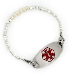 June Birthstone Pearl Medical Alert Bracelet