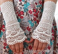 BEAUTIFUL crochet wristlets...photo tutorial and diagrams for making...I would love to make these!