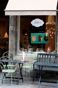 "Julie's Bakery, Ghent, Belgium. Very quaint. The window reads ""baked with Joy."""