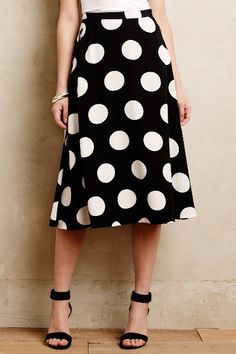 Deco Dot Midi Skirt - anthropologie.com - knee-length a-line skirt with oversize polka dots