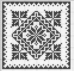 Square 21 | Free chart for cross-stitch, filet crochet | Chart for pattern - Gráfico