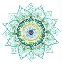 Hand Drawn Mandala Print Bright Green Mandala by WestridgeART