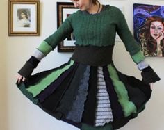 Popular items for green sweater dress on Etsy