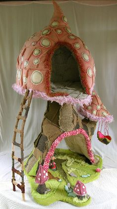Fairy house made from fabric textile art pixie palace cute grimm and fairy craft toadstool house every good fairy should have one
