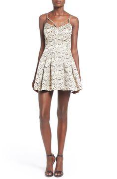 #FullSkirt Lovers + Friends 'Abbie' Metallic Floral Fit & Flare #Dress