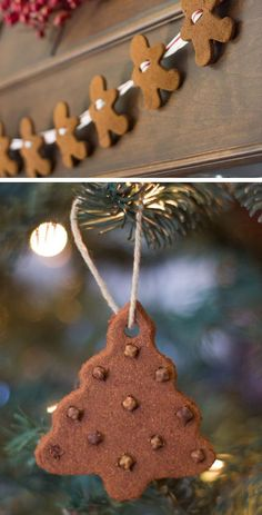 Gingerbread Man Garland & Ornaments | Click for 28 Easy DIY Christmas Decorations for Home | Easy DIY Christmas Ornaments Homemade