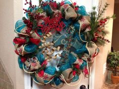 Cross Wreath Rustic Christmas Wreath by MaDoorableCreations, $120.00 Everyone should by one whatever u want she can make. Will ship it also. Love the wreaths
