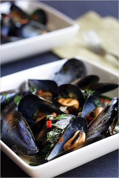 Steamed Mussels with Lemongrass, Thai Basil, Chilies, and Coconut Juice #seafood #Asian