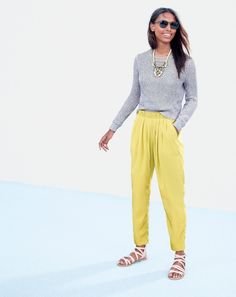 MAR '15 Style Guide: J.Crew women's techtonic necklace, ribbed shimmer sweater, pull-on pleated pant, and callista gladiator sandals.