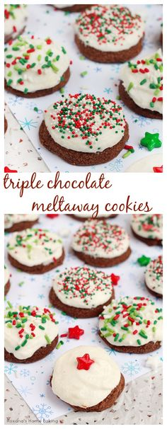 Melt in your mouth soft cookies with triple deliciousness from the cocoa powder, chocolate chips and chocolate hazelnut spread, these are the perfect chocolate meltaway cookies!