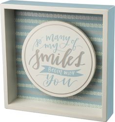 Item # 33456 | Box Sign - My Smiles BLU | Primitives by Kathy