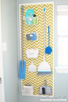 Beautiful way to organize your supplies in your laundry room.