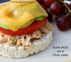 A light twist on a tuna melt...with a delicious, crunchy rice cake for the base! Yum!