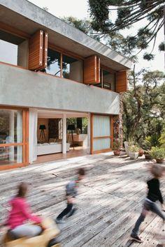 concrete + wood facade