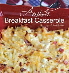 This Amish breakfast casserole is real winner. Eat if for breakfast or dinner - it works both ways. Amish Style Breakfast Casserole is filled with three different types of cheese - Cheddar, Swiss, and cottage - hash browns, and bacon. Don't forget the bacon. It's a simple recipe that you won't get tired of. You should keep it handy because you never know when you might need it.