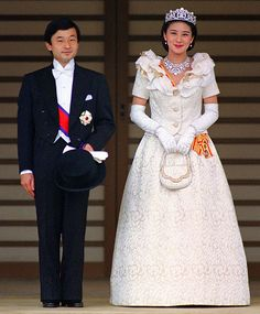Most Amazing Royal Wedding Dresses Ever...Crown Princess Masako of Japan...After wearing traditional waxed wigs and 30 pounds of ceremonial garments by designer Hanae Mori for her 1993 wedding to Japan's Crown Prince Naruhito, Masako donned a more contemporary ivory gown.