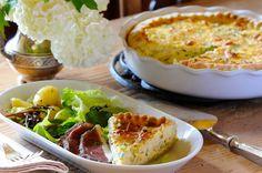 magret de canard , tarte aux légumes
