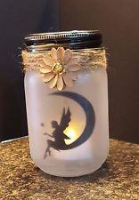 Beautiful Frosted Glass Jar Fairy Lantern/ Fairy Silhouette on moon