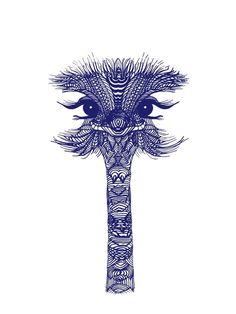 OSTRICH BLUE Art Print by Monika Strigel | Society6