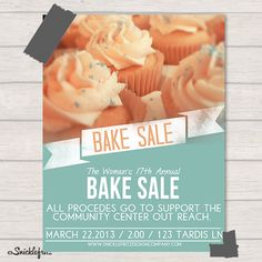 Bake Sale Flyer Personalized Printable by SnicklefritzDesignCo, $15.00