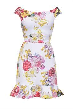 Vestido Curto Decote Babados Estampa Mix Floral - roupas-vestidos-iorane-f-vestido-curto-decote-babados-estampa-mix-floral Iorane