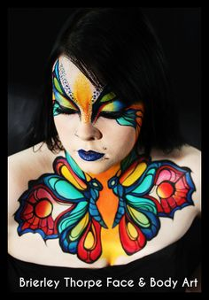 Butterfly face & chest paint by Brierley Thorpe