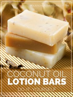 Lotion bars are solid at room temperature and look like a bar of soap. They are easier to make than lotion because it doesn't require any emulsifying with water, which is the tough step. Diy Lotion, Lotion Bars, Lotion En Barre, Diy Lush, Coconut Oil Lotion, Coconut Oil Recipe, Coconut Soap, Homemade Beauty Products, Natural Products