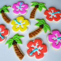 Hawaiian Tropical Theme Palm Tree and Hibiscus Decorated Cookies