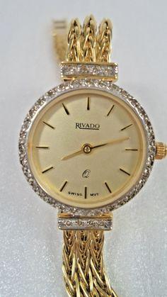 d3782047 DAMEN SCHWEIZER 14 Kt Gelbgold Armbanduhr Rivado, 40 Diamanten, 27,8 g -