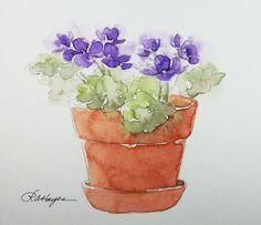 Image result for watercolor sketch of terra cotta pot