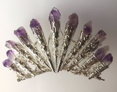 The ORLA Amethyst Bun Comb - Purple Natural Raw Amethyst - Art Deco Fan - Quartz  - Tiara Small Crown - Great Gatsby, 20s, prom, vintage.