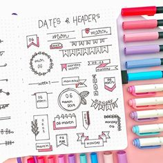 - Shop bujos, brush pens,… Need some dates + headers inspiration? check this page out by ?✨so delicate! Bullet Journal School, Bullet Journal Titles, Bullet Journal Lettering Ideas, Bullet Journal Banner, Journal Fonts, Bullet Journal Notebook, Bullet Journal Aesthetic, Bullet Journal Spread, Bullet Journal Inspiration
