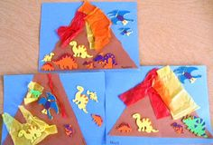 Volcanos cut from brown paper bag. Glue on red, yellow and orange crepe paper strips. Add dino stickers