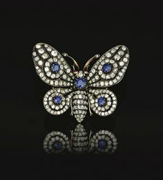 Antique Butterfly Brooch - Late 19th Century - Sapphire, ruby and old mine diamonds