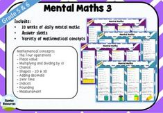 Mental Maths 3 is a resource that has a variety of mathematical concepts that will challenge your students! It's a great resource for homework or daily warm ups. The concepts are the same for 5 weeks to ensure students get that important repetition, and then they're switched up. The mathematical concepts include:- The four operations- Place value- Multiplying and dividing by 10- Chance- Shapes – 2D Kids Math Worksheets, Math Activities, Adding Decimals, Mental Maths, Math Answers, Place Values, Rounding, Student Engagement, Math Skills