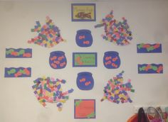 Ff is for fish. Young toddlers counted fish and patterned fish for math and created mosaic fish.